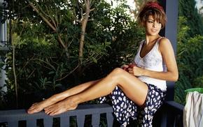 Eva Mendes, long hair, trees, actress, barefoot, skirt