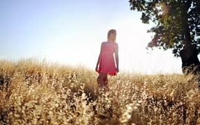 long hair, looking away, sunlight, model, girl outdoors, blonde