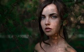 blue eyes, girl, portrait, face, freckles, Georgiy Chernyadyev