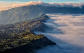 sunrise, Mount Bromo, field, Indonesia, mountain, nature
