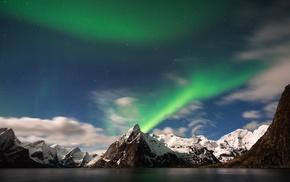 mountain, Brian Matiash, aurorae, lake