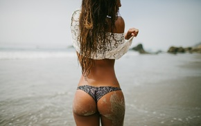 lingerie, thong, tanned, sand, rear view, long hair