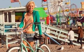 beach, girl, blonde, Tiffany Toth, model, jean shorts