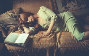 couch, redhead, books, sleeping, girl