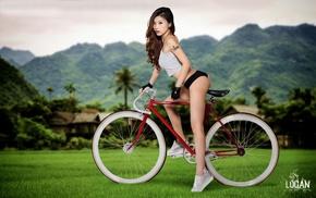 model, mountain, bicycle, nature, ass, grass