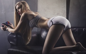 Ura Pechen, girl, couch, gamepad, blonde, model