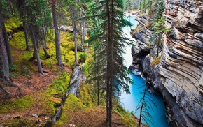 river, water, cliff, Canada, rock, erosion