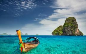 turquoise, summer, landscape, sea, Thailand, island