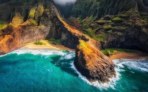 aerial view, landscape, sea, coast, Hawaii, Kauai
