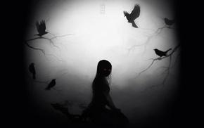 dark, crow, red eyes