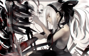skeleton, white hair, black dress