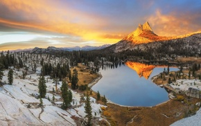sunset, forest, snow, California, water, lake