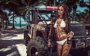 curvy girl, Jeep, model, bikini, girl with cars