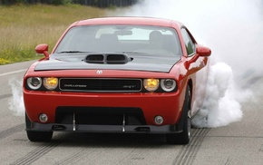 red cars, car, Dodge Challenger, muscle cars