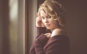 blonde, closed eyes, sweater, girl