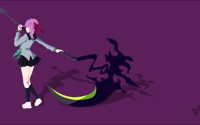 vectors, scythe, simple background, vector art, anime girls, Hiiragi Shinoa