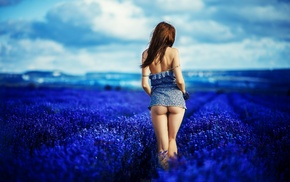 ass, redhead, plants, flowers, lavender, model
