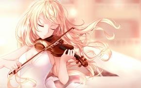blonde, anime, violin, Miyazono Kaori, Shigatsu wa Kimi no Uso, anime girls