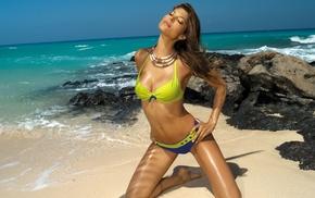 Analu Campos, girl, closed eyes, kneeling, sand, rock