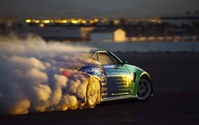 race cars, smoke, drift