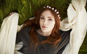 flowers, girl, Danielle Victoria, model, face, freckles
