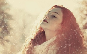 bokeh, sunlight, girl outdoors, closed eyes, winter, redhead