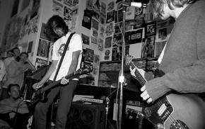musicians, monochrome, concerts, rock stars, guitar, crowds