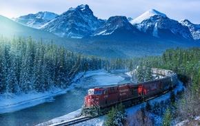 railway, river, train, Canada, landscape, trees