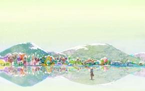 watercolor, colorful, Mushishi, mountain