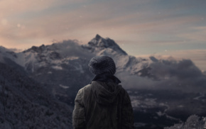 nature, landscape, winter, snow, photo manipulation, mountain