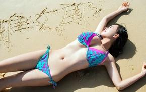 belly, swimwear, bikini, girl, Asian, lying down