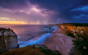 landscape, nature, beach, Australia, cliff, storm