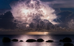 landscape, sea, water, storm, night, nature