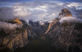 sunset, landscape, mountain, Yosemite National Park, nature, clouds