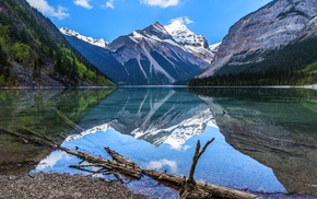 landscape, mountain, reflection, nature, spring, lake