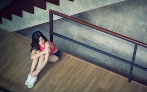 model, girl, stairs, Asian, walls