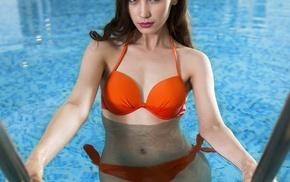 swimming pool, girl, model, bikini