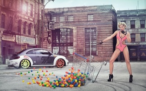 street, one, piece swimsuit, car, high heels, gloves