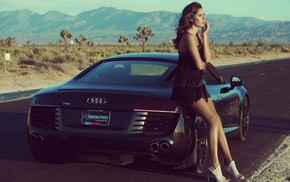girl, Audi R8, sports car, girl with cars, model, high heels