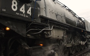 steam locomotive, train, dust, wheels, pipes, railway