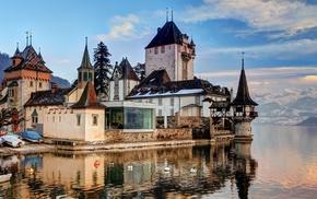old building, Lake Thun, Switzerland, trees, nature, reflection