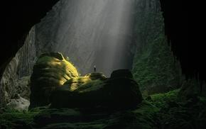 nature, rock, cave, trees, sunlight, men