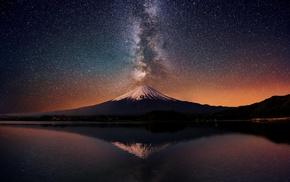water, stars, Mount Fuji, nature, Japan, Milky Way