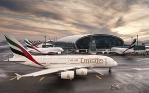 airport, passenger aircraft, Dubai, Airbus, aircraft, airplane