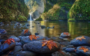 river, waterfall, landscape, nature