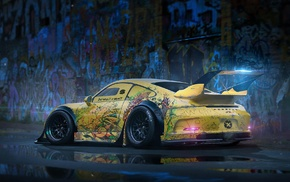 Porsche 911 GT3, Porsche, vehicle, car, yellow cars