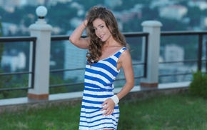 striped clothing, bracelets, dress, Lily C, girl, model
