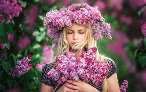 girl outdoors, blonde, flowers, girl, wreaths, closed eyes