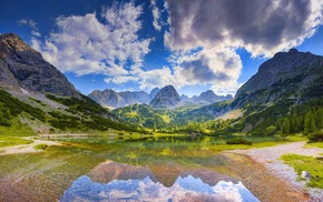 mountain, Germany, landscape, forest, water, clouds