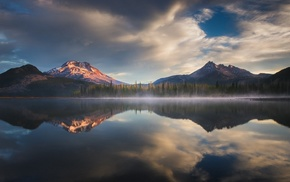 lake, mountain, reflection, mist, snowy peak, nature